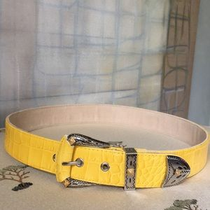 Accessories - Yellow Crocodile Embossed Leather Belt